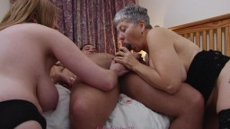 Grandma and daughter with a cock
