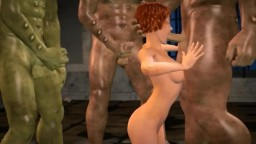 3D- Hot babe trapped and fucked by monsters