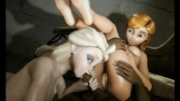 Elsa and Anna- 3D sex compilation